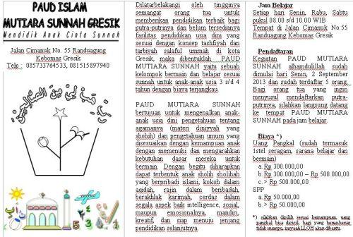 Brosur_PAUD ISLAM MUTIARA SUNNAH GRESIK